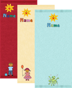 Grosses Baby-Badtuch mit Namen, Motiv und Sonne