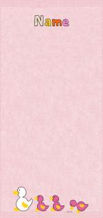 Quakende Enten auf rosa
