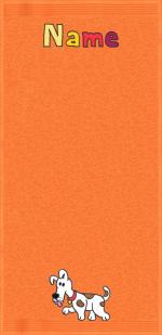 Hund Flecki auf orange